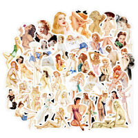 50Pcs Sexy Retro Poster Girls Stickers Suitcase Laptop Guitar Car Stick roSE