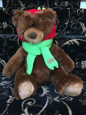 2010 Brown Plush Teddy Bear Christmas Holiday Winter Antler Red Hat Green Scarf