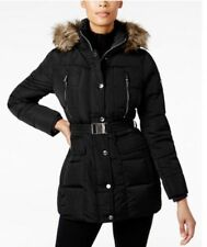 Michael Kors Jacket Coat Puffer Down Parka Hood Faux Fur Belted Black XS $280