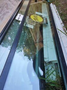 """Pella Impervia Black Fiberglass Transom Window Tempered Glass 9' 108"""" x 23"""""""