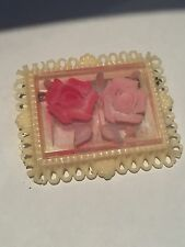 Vintage French Celluloid Diorama Pink Rose Brooch/Pin