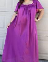 Vintage Purple Nylon Nightgown Sexy Sissy Bombshell  plus size