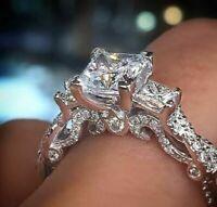 2.50 Ct Princess-Cut Diamond Three Stone Engagement Ring 14K White Gold Over