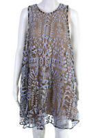 Mary Katrantzou Womens Sleeveless Metallic Shift Dress Beige Blue Size 10