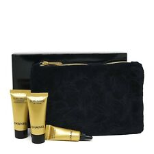 CHANEL COSMETIC/MAKEUP BAG black velvet + SAMPLE SET 3X sublimage RARE VIP GIFT