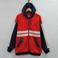 Vintage Helly Hansen Full Zip Fleece Sweatshirt Hoodie Medium Red Blue Sailing
