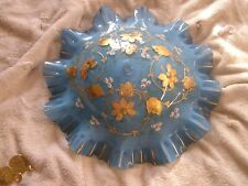 Vintage Glass Lamp Shade Ceiling Mount Floral Blue Ruffled Edge Beautiful