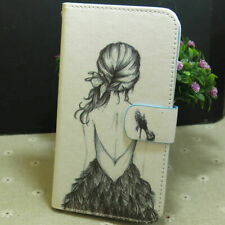 1x Pretty Girl Wallet Card Holder Flip TPU Case Cover for Various Smart Phone