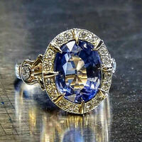 Gorgeous Women Wedding Engagement Rings 925 Silver Jewelry Blue Sapphire Sz 6-10