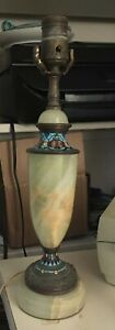 Antique French Champleve Enamel & Onyx Table Lamp