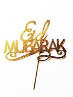 Eid Mubarak Gold Glitter Card Cake Topper, Eid, Ramadam, Umrah Celebrations