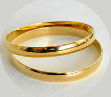 24K Yellow Gold Plated 6mm Half Round Solid Bangle Bracelet 2-5/8 Diameter - 1pc