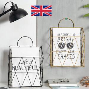 Newspaper Magazine Organizer Office Wire Basket Wall Mounted Post Rack Storage E