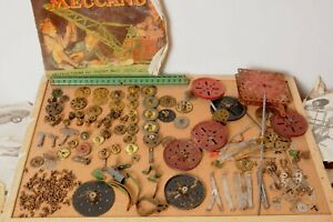 Lot Vintage Meccano Construction Toy Brass Cogs Gears Keys, Parts instructions