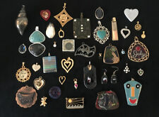 Vintage~Now Pendant Charm Jewelry Lot Rhinestones Hearts LW
