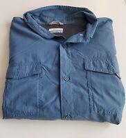 Columbia Omni-Shade  Men's XL Roll-Up Long Sleeve Vented Shirt Blue 75-33