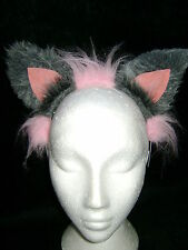 The Cheshire Cat Fancy Dress Ears Light Pink & Grey Fur Cat Ears Costume Ears