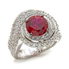 JEAN DOUSSET 5.32 CTW ABSOLUTE CREATED RUBY PAVE STERLING SWIRL RING SIZE 6 HSN