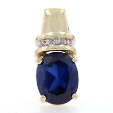 Yellow Gold Synthetic Sapphire & Diamond Pendant - 10k Oval Cut 3.19ctw