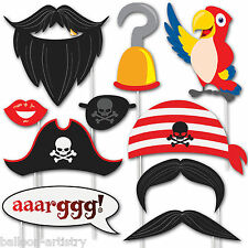 10 Pirate Children's Party Captain Hook Hat Parrot Hand Held Photo Booth Props