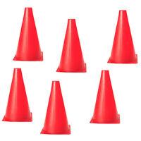 "LOT 6PCs RED SPORT FIELD ROAD SOCCER FOOTBALL TRAINING 6.7/"" AGILITY CONES"