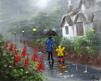 100%Hand-painted Art Oil Painting SCENERY FATHER AND SON 16*20inch Signed CANVAS