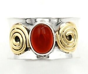 Two Tone Natural Orange Carnelian 925 Sterling Silver Ring Sz 7.5, ED12-3