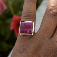 Unique Square Red Ruby 925 Sterling Silver July Birthstone Gift Ring Size 9