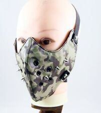 Camouflage Punk Spike Half Face Mask Biker Motorcycle Rave Rock Unisex Leather