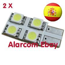 2 x Bombillas plana 4 LED SMD CANBUS T10 W5W Coche Posicion Blanco #2009