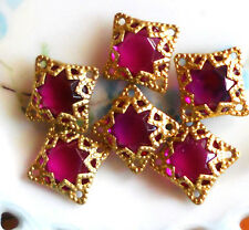 Vintage square Filigree Findings Fuchsia Pendant Gold Tone Beads Connectors #754