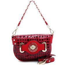 Anais Gvani Women Handbag Soft Leather Purse Crossbody Bag Mini Baguette Red