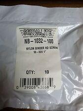 "NYLON BINDER HEAD SCREW 10-32 X 1""  PACK OF 10"