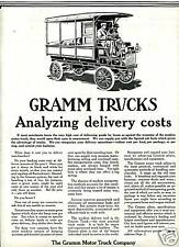 1912 Original GRAMM Motor TRUCK Full Page AD. Truck Pioneer. Lima OH