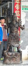 "80"" Old Chinese Bronze Carved Dragon guangong guanyu Warrior Generals Sculpture"