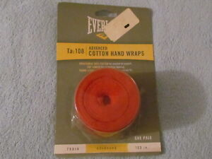 Everlast Advanced Red COTTON HAND WRAPS; Ta: 108; New, Never Used!