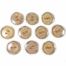 10 Glitter Round Plastic Buttons Orange 18mm - Sewing Crafts etc