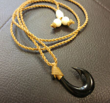 Hawaiian Hawaii Jewelry Fish Hook Bone Carved Pendant Necklace//Choker # 35064-4