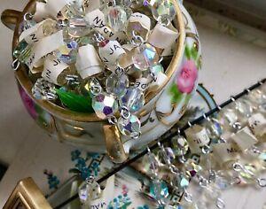 Vintage Crystal AB Connectors, Aurora Borealis, vintagerosefindings, Japan #411