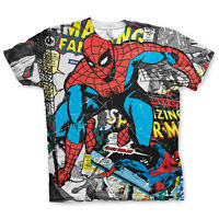 Spider-Man T-Shirt - Comic Allover Print - Rundhals - Marvel Comics - Herren
