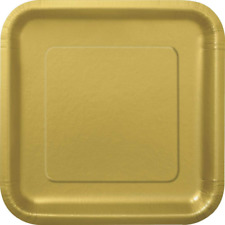 23cm Square Gold Party Plates Pack of 14