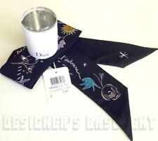 DIOR black skull L'automne MITZAH skinny 2-sided Silk scarf NWT in BOX Auth $200