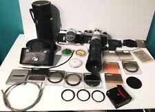 2 PENTAX Honeywell Asahi Spotmatic 35mm Cameras Takumar Lens Filters Cases Caps