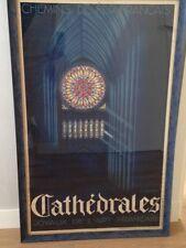 """Grande affiche ancienne SNCF, """"Cathedrales"""" par G. BOURDIER./PLM"""