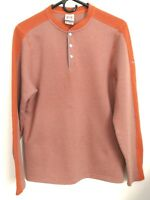 Avalanche Outdoor Mens Medium Orange Gray Striped Henley Snap Thermal Sweater