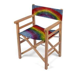 Rainbow Designer Directors Chair, Handmade to order, Sustainable Wood, Art Print