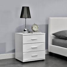 [en.casa]® Mesilla de noche mesita con 3 cajones blanca mesa auxiliar moderna