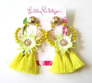 NEW LILLY PULITZER Capri Soleil Earrings Pineapple Twist Tassel Yellow/Gold Tone