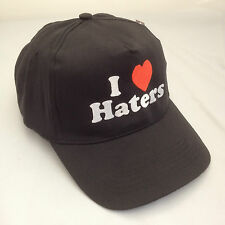 I Love Haters Embroidered Baseball Cap Hat Black and Red