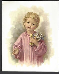 """Catholic Print Picture CHILD JESUS with flowers 8x10"""" ready to frame"""